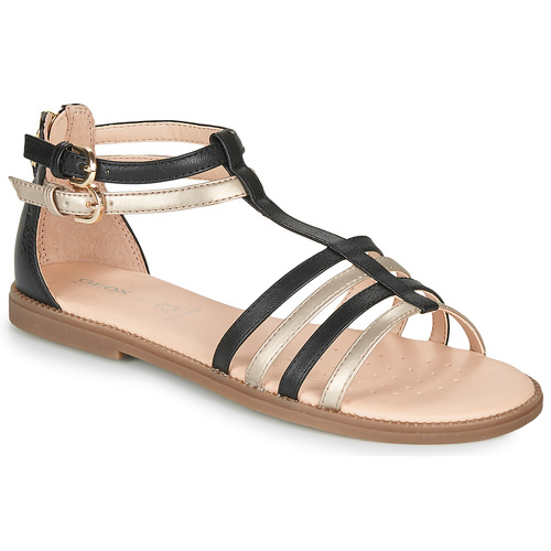 Chaussures Fille Sandales et Nu-pieds Geox SANDAL KARLY GIRL Noir / Doré