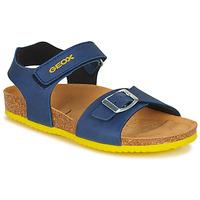 Chaussures Garçon Sandales et Nu-pieds Geox J GHITA BOY Bleu / Jaune