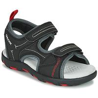 Chaussures Garçon Sandales sport Geox JR SANDAL PIANETA Noir / Rouge