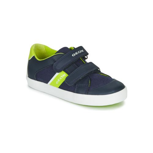 Chaussures Garçon Baskets basses Geox GISLI BOY Marine / Vert