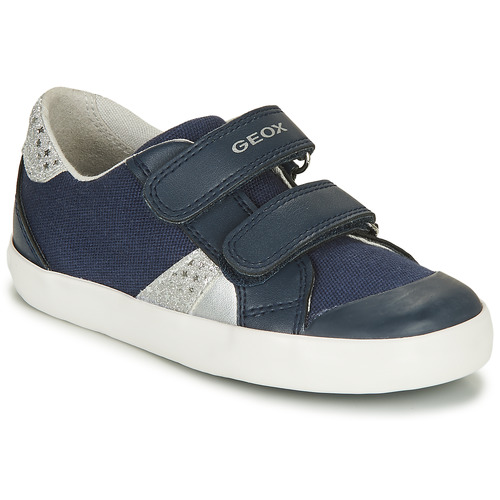 Chaussures Garçon Baskets basses Geox GISLI GIRL Marine / Argent