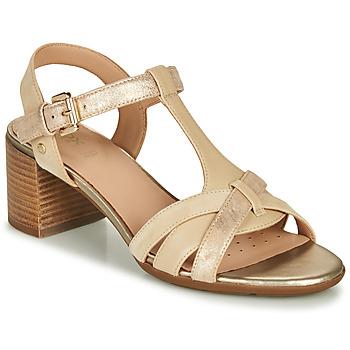 Chaussures Femme Sandales et Nu-pieds Geox D MARYKARMEN MID SAN Beige / Doré