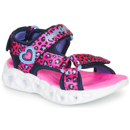 Chaussures Fille Sandales sport Skechers HEART LIGHTS SANDALS Rose / Noir