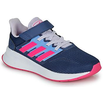 Chaussures Fille Baskets basses adidas Performance RUNFALCON C Bleu / rose