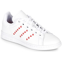 Chaussures Fille Baskets basses adidas Originals STAN SMITH J Blanc / rouge CŒUR