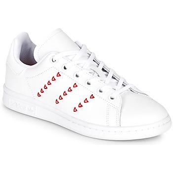 Chaussures Fille Baskets basses adidas Originals STAN SMITH J Blanc / rouge CŒUR