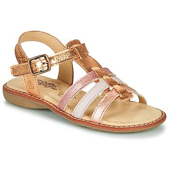 Chaussures Fille Sandales et Nu-pieds Citrouille et Compagnie GROUFLA Doré / Couleurs métallisés rose