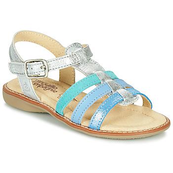Chaussures Fille Sandales et Nu-pieds Citrouille et Compagnie GROUFLA Argenté / Bleu / Vertd'eau