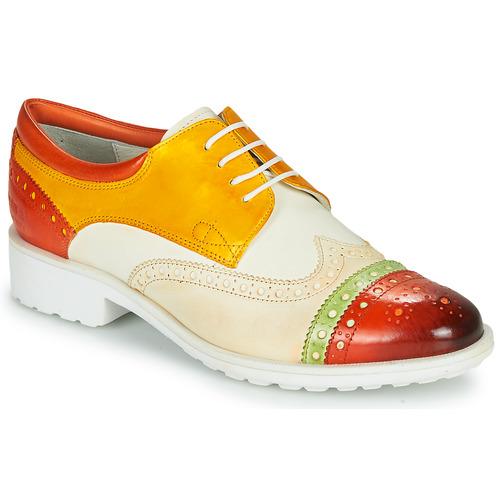 Chaussures Femme Derbies Melvin & Hamilton AMELIE 85 Blanc / Jaune / Marron