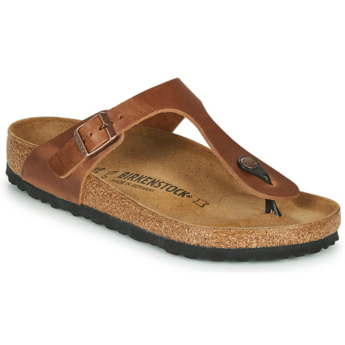 Chaussures Femme Tongs Birkenstock GIZEH LEATHER Antique Brown
