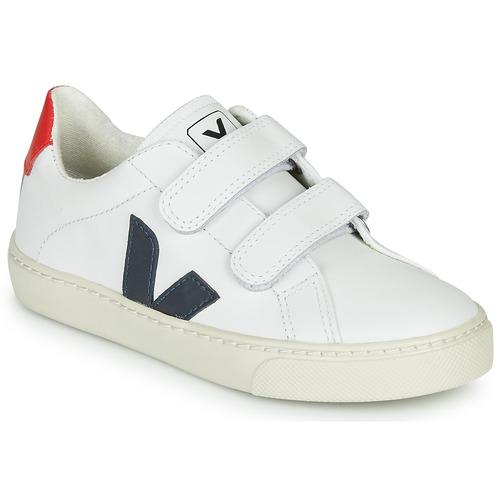 Chaussures Enfant Baskets basses Veja SMALL ESPLAR VELCRO Blanc / Bleu / Rouge