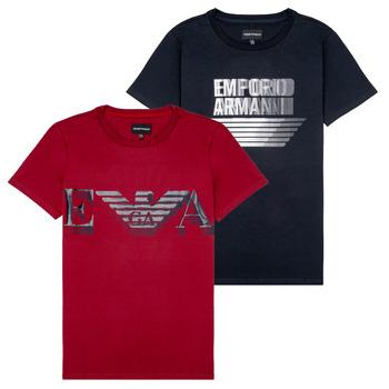 Vêtements Garçon T-shirts manches courtes Emporio Armani 6H4D22-4J09Z-0353 Noir / Rouge