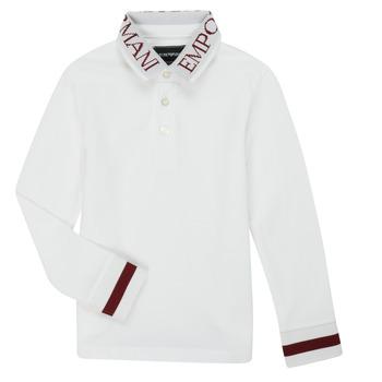 Vêtements Garçon Polos manches longues Emporio Armani 6H4FJ4-1J0SZ-0101 Blanc