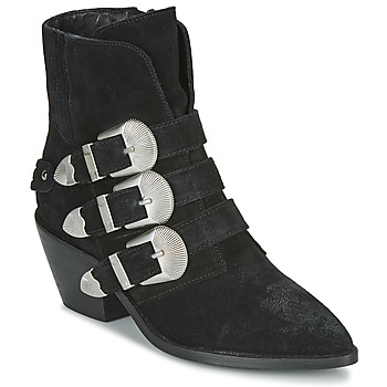 Chaussures Femme Boots Pepe jeans WESTERN W BUCKLE Noir