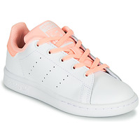 Chaussures Fille Baskets basses adidas Originals STAN SMITH C Blanc / Rose