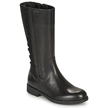 Chaussures Fille Bottes ville Geox AGGATA Noir
