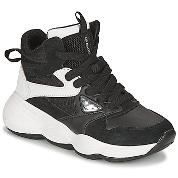Chaussures Fille Baskets basses Geox BUBBLEX Noir / Blanc