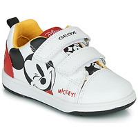 Chaussures Garçon Baskets basses Geox NEW FLICK MICKEY Blanc / Rouge