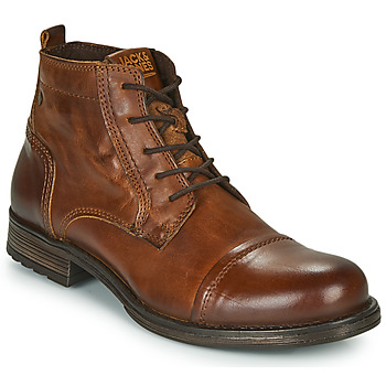 Chaussures Homme Boots Jack & Jones JFW RUSSEL LEATHER MID Cognac