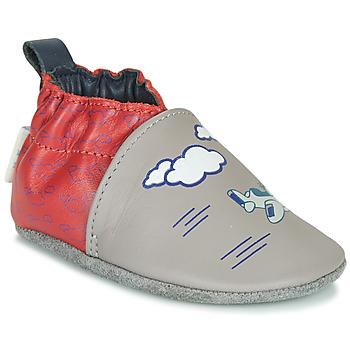 Chaussures Garçon Chaussons Robeez HAPPY WOLF Gris / Rouge