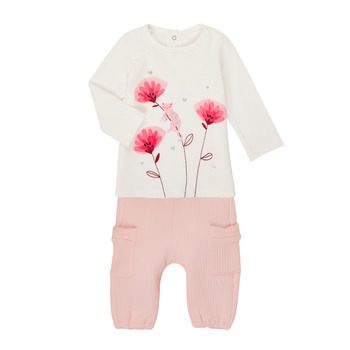 Vêtements Fille Ensembles enfant Catimini CR36001-11 Blanc / Rose
