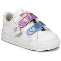 Chaussures Fille Baskets basses Converse STAR PLAYER 2V GLITTER TEXTILE OX Blanc / Bleu / Rose