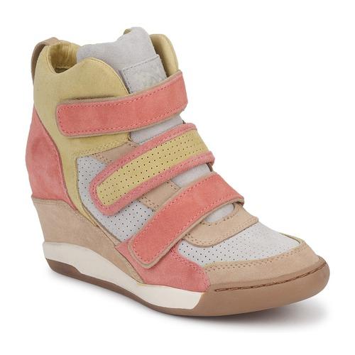 Chaussures Femme Baskets montantes Ash ALEX Corail / Jaune / Taupe