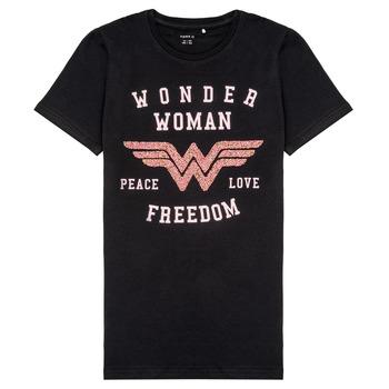 Vêtements Fille T-shirts manches courtes Name it NKFWONDERWOMEN Noir