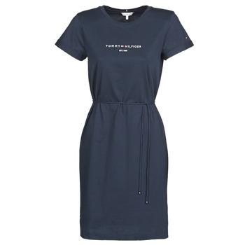 Vêtements Femme Robes courtes Tommy Hilfiger TH ESS HILFIGER REG C-NK DRS SS Marine