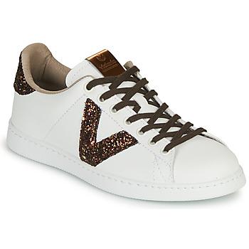 Chaussures Femme Baskets basses Victoria DEPORTIVO PU CONTRASTE Blanc / Marron