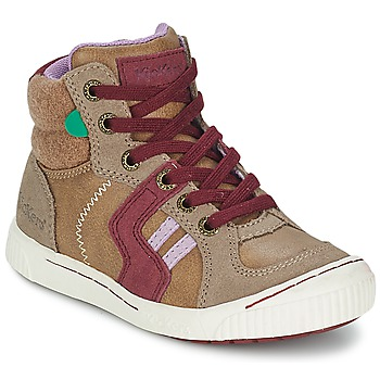 Chaussures Fille Baskets montantes Kickers ZIGUERS Beige / Bordeaux