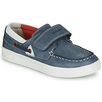 Chaussures Garçon Mocassins Geox J DJROCK GARÇON Bleu / Blanc