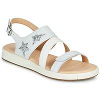 Chaussures Sandales et Nu-pieds Geox J SANDAL REBECCA GIR Blanc / Argenté