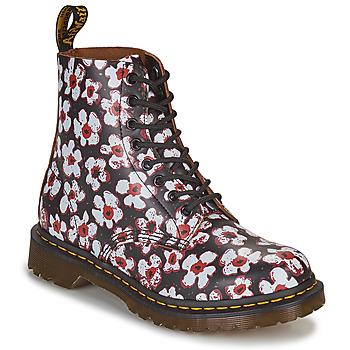 Chaussures Femme Boots Dr Martens 1460 PASCAL Noir / Blanc / Rouge