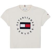 Vêtements Fille T-shirts manches courtes Tommy Hilfiger KG0KG05503-Z00-J Beige