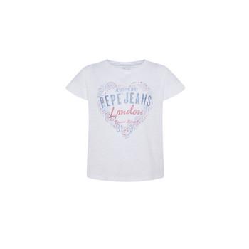 Vêtements Fille T-shirts manches courtes Pepe jeans PIPER Blanc