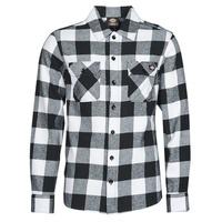 Vêtements Homme Chemises manches longues Dickies NEW SACRAMENTO SHIRT BLACK Noir / Blanc