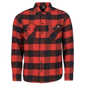 Vêtements Homme Chemises manches longues Dickies NEW SACRAMENTO SHIRT RED Rouge / Noir