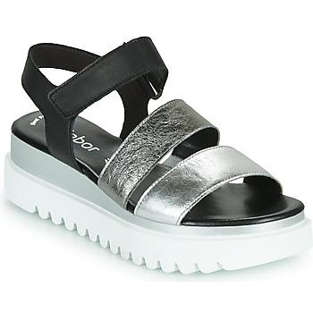 Chaussures Femme Sandales et Nu-pieds Gabor 6461061 Noir / Blanc / Argenté