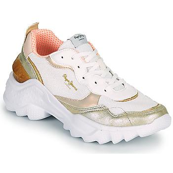 Chaussures Femme Baskets basses Pepe jeans ECCLES TOP Blanc / Doré