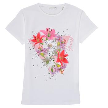 Vêtements Fille T-shirts manches courtes Guess SONNA Blanc