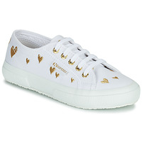 Chaussures Enfant Baskets basses Superga 2750 COTJEMBROIDERY LAMEHEARTS Blanc / Doré