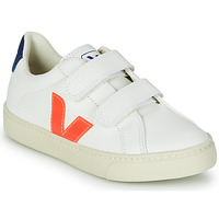 Chaussures Garçon Baskets basses Veja SMALL ESPLAR VELCRO Blanc / Orange / Bleu