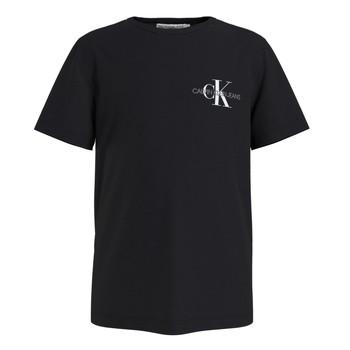 Vêtements Garçon T-shirts manches courtes Calvin Klein Jeans CHEST MONOGRAM TOP Noir