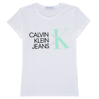 Vêtements Fille T-shirts manches courtes Calvin Klein Jeans HYBRID LOGO SLIM T-SHIRT Blanc