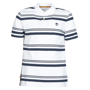 Vêtements Homme Polos manches courtes Timberland SS ZALAND RIVER YS STRIPE POLO REGULAR Blanc / Marine