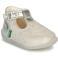 Chaussures Fille Ballerines / babies Kickers BONBEK-2 Argenté