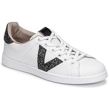 Chaussures Femme Baskets basses Victoria TENIS PIEL GLITTER Blanc / Noir
