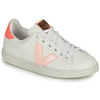 Chaussures Fille Baskets basses Victoria TENIS VEGANA CONTRASTE Blanc / Rose