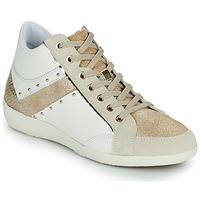 Chaussures Femme Baskets montantes Geox D MYRIA G Blanc / Beige